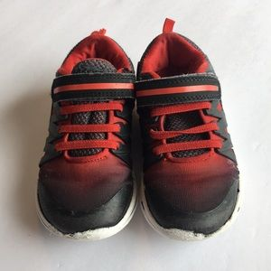 Little Boys Sneakers Velcro Size 10 Black and Red